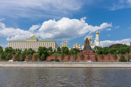 belfry: RUSSIA, MOSCOW, JUNE 8, 2017:  View of embankments, Kremlin Towers in Moscow.