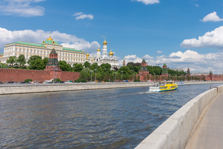 RUSSIA, MOSCOW, JUNE 8, 2017:  View of embankments, Kremlin Towers in Moscow.
