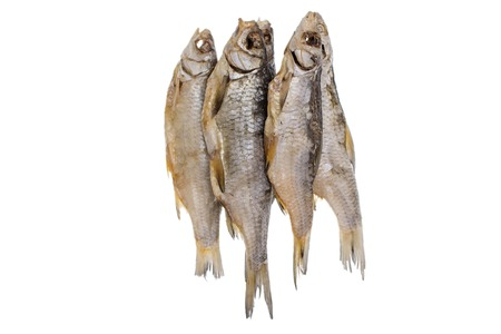 Dried salted roach fish on a isolated white background. Caspian roach salted fish
