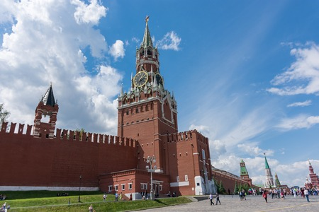 RUSSIA, MOSCOW, JUNE 8, 2017: Spasskaya Tower. The Spasskaya Tower is the main tower with a through-passage on the eastern wall of the Moscow Kremlin