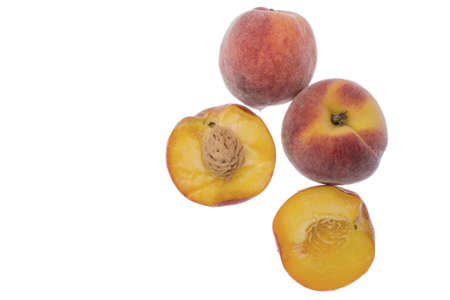 Ripe Nectarines isolated on white background. Close up Stock Photo