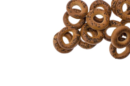 A dry bagels isolated on white background. Free space for your text