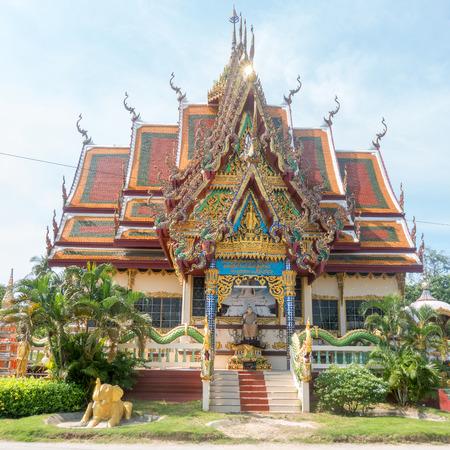 KOH SAMUI, THAILAND - December 14, 2017: Wat Plai Laem temple on Koh Samui island in Thailand