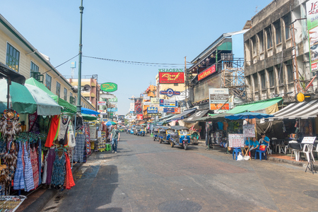 BANGKOK, THAILAND - December 23 2017: Khaosan road in the morning. Khao San Road is a famous low budget hotels and guesthouses area in Bangkok.