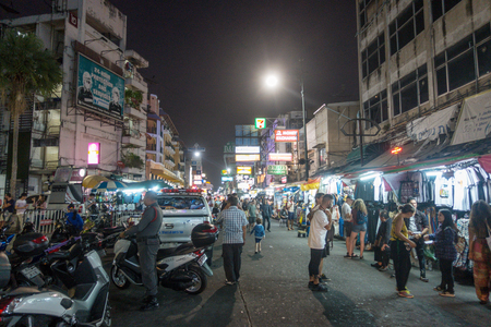 BANGKOK, THAILAND - December 22 2017: Khaosan road in the night. Khao San Road is a famous low budget hotels and guesthouses area in Bangkok. Editorial