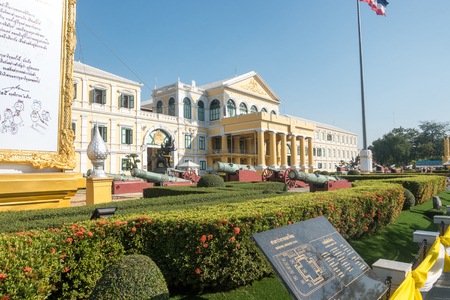 BANGKOK, THAILAND - December 22 2017: Ministry of Defence building at sunny day in Bangkok, Thailand. The Ministry controls and manage the Royal Thai Armed Forces. Editorial