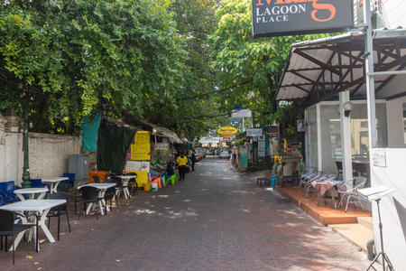 BANGKOK, THAILAND - December 22 2017: A view along Rambuttri Alley in central Bangkok during the day.