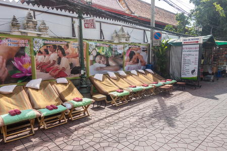 BANGKOK, THAILAND - December 22 2017: Place for thai massage on Rambuttri road in Bangkok. Thai Massage is richly rewarding, holistic therapy that can relax as well as energize, help to maintain good health.
