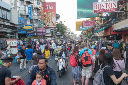 BANGKOK, THAILAND - December 21 2017: Khaosan road in the morning. Khao San Road is a famous low budget hotels and guesthouses area in Bangkok.