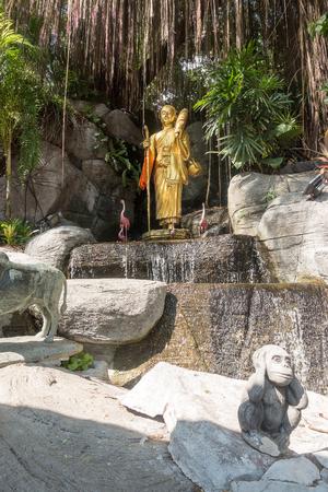 BANGKOK, THAILAND - December 21 2017: Golden Buddha Image in Park at Wat Saket Temple Where is the Famous Landmark of Thailand.