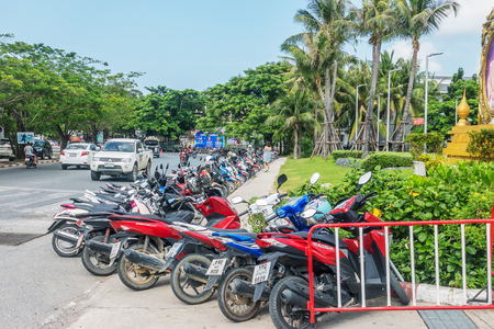 KOH SAMUI, THAILAND - December 15, 2017: Motobike parking near CentralFestival Samui. Central Festival Samui is a shopping mall in a resort style, located in the centre of Ko Samui.