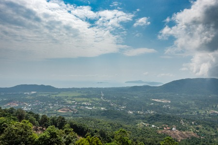 Beautiful top view of Koh Samui and ocean. View from viewpont Stock Photo