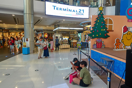 BANGKOK, THAILAND - December 24: Terminal 21 Shopping Mall. Terminal 21 is connected to Asoke BTS station. Editorial