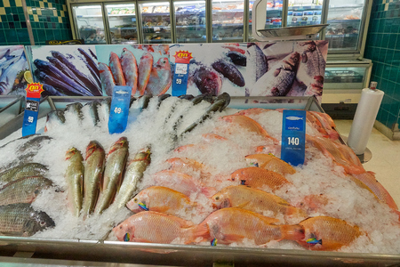 KOH SAMUI, THAILAND - December 13, 2017: Big C Supercenter. Different types of fish lined on ice.