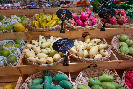 KOH SAMUI, THAILAND - December 13, 2017: Big C Supercenter. Different kinds of tropical fruits in shopping mall Editorial