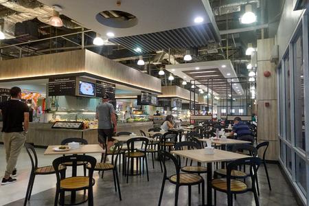 BANGKOK, THAILAND - December 13, 2017: Modern interior of food court Tesco Lotus Samui, Thailand