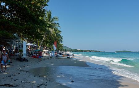 BANGKOK, THAILAND - December 13, 2017: Sea waves and sand beach of Chaweng beach, Koh Samui.