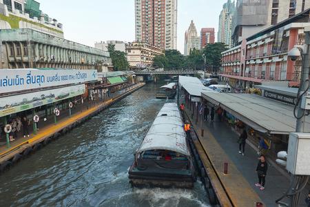 BANGKOK, THAILAND - December 7, 2017: Khlong Saen Saep Express Boat. The voyage by longtail boat in khlong saen saep is one of transport in Bangkok,