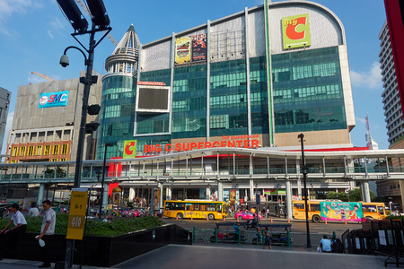 BANGKOK, THAILAND - December 6, 2017: Big C supercenter, in the opposite of Central World, on Ratchadamri road. ar traffic near the Big C suppercenter Editorial