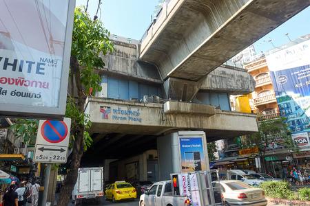 BANGKOK, THAILAND - December 6, 2017: Phrom Phong BTS area. Road car traffic and BTS station. Editorial