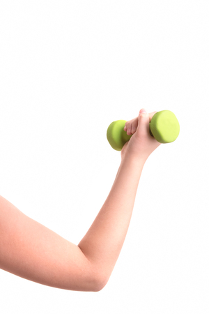 lift hands: Woman in sport equipment practice with hand weights Stock Photo