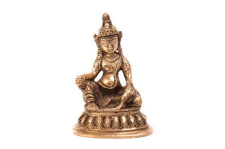 sanskrit: Deity Kubera of metal on a white background