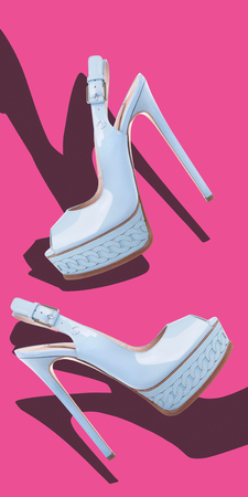 ankle strap: Blue sandals with high heels made of patent leather on a pink background Stock Photo