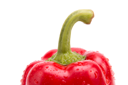 Fresh red sweet pepper close-up on a white background