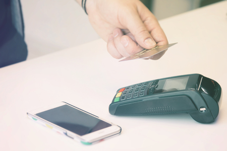Mobile payment PayPass. Contactless card payment.