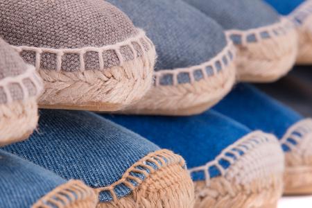 Summer shoes espadrilli closeup