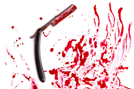 A dangerous razor and traces of blood. The concept of murder and suicide.