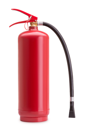Fire extinguisher from metal on a white background