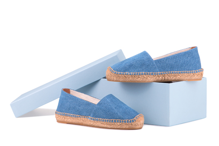 Espadrilles isolate on a white background. Imagens