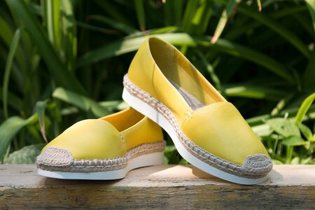 A pair of yellow espadrilles on a green background.
