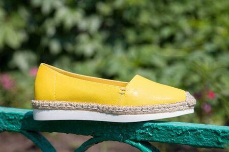 Yellow leather espadrilles close-up. Stok Fotoğraf