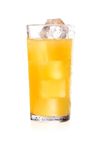 Freshly squeezed orange juice with ice cubes. Juice in a glass isolate on white background.