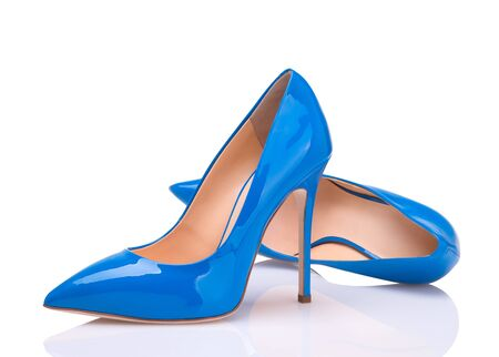 Pair of blue stilettos. high-heeled shoes.