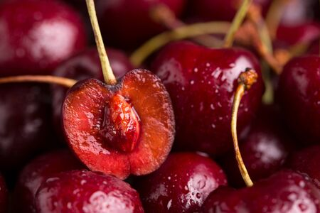 Sliced cherry closeup. A lot of cherries. Stok Fotoğraf