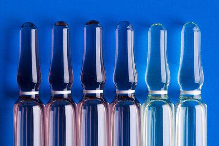 Glass ampoules close up. Medical ampoules. Stok Fotoğraf