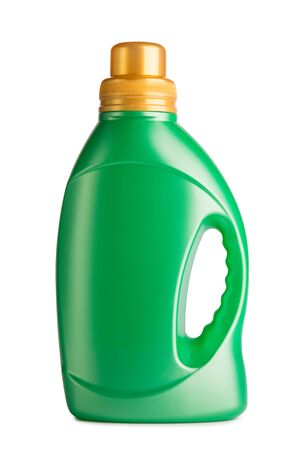 Green bottle with washing powder. Bottle isolate on a white background. Stok Fotoğraf