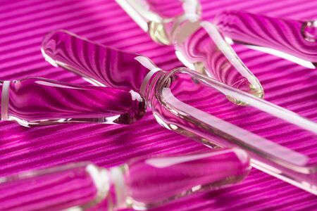 Glass ampoules close up. Medical ampoules. Stok Fotoğraf