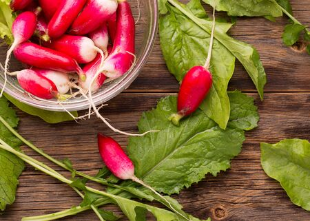 Radish and juicy greens. Ripe red radish on a wooden table.