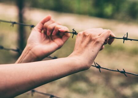 Closed area. Hand and railing with barbed wire. Female hand holding barbed wire. Stok Fotoğraf - 128714298