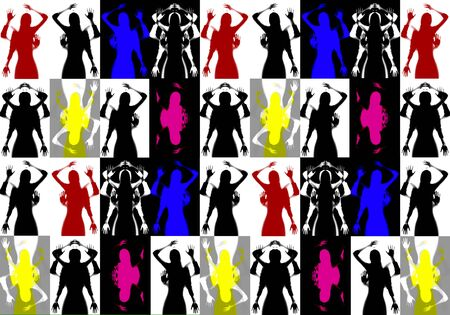 Abstract picture from the silhouettes of female bodies. Stok Fotoğraf - 128714379