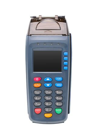 Bank card payment terminal isolate on white background. Stok Fotoğraf
