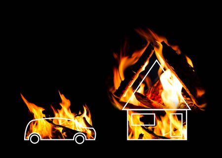 Burning house and car. Conceptual work. Symbols of burning objects of the car and home.