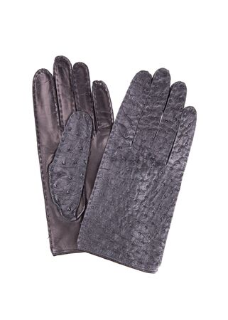 Black leather gloves. A pair of leather gloves isolate on a white background.