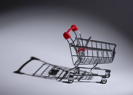 Empty metal trolley in the rays of light. Conceptual shot of a grocery cart.