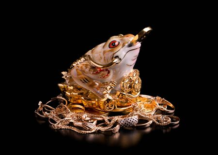 Money porcelain toad on a black background. Money toad and gold jewelry. Stok Fotoğraf - 128714465