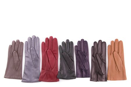 Colored leather gloves isolate on a white background. Stok Fotoğraf - 128714470